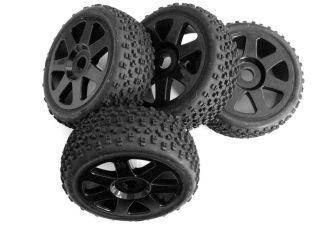 HPI Vorza Pre glued Proto Tires Wheels 103677 17mm Black V7 Buggy 1 8