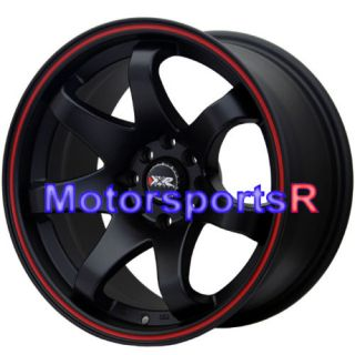 Black Red Stripe Concave Rims Wheels 84 85 Toyota Celica GT GTS