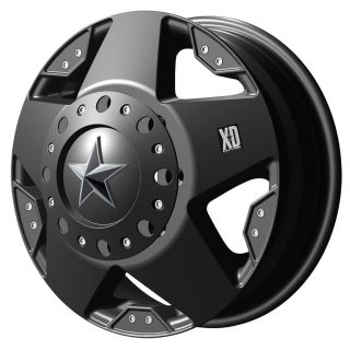 XD Series Rockstar XD775 8 Lug Black Wheels Rims FREE Caps Lugs Stem