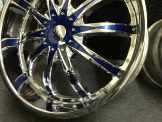 26 VCT Abruzzi Chrome Black Wheels Cadillac Escalade GMC Rims Used 26