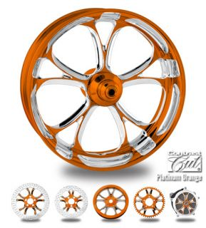 Custom Color Rims 21 Wheel Package for Harley Orange Platinum