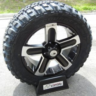 20X9 BLACK HD DIRT RIMS 33 FEDERAL MT TIRES CHEVY SILVERADO GMC SIERRA
