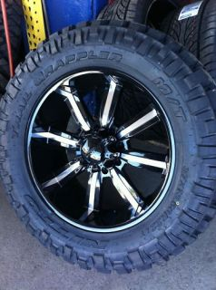 22 8x170 Black Rims Tires Ford Excursion F250 37 13 50 22 Nitto Trail
