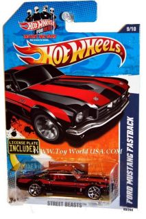 2011 Hot Wheels Street Beast #89 Ford Mustang Fastback black license