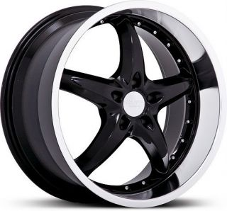 20 inch Ruff Racing 280 Staggered Black Wheels 5x114 3