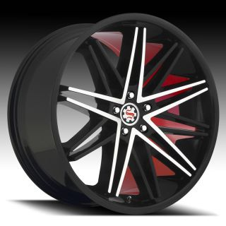 Wheel Set Staggered 22x9 Concave Red Soul Edition Rims 5 Lug