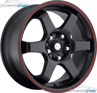 172 F01 5x110 5x115 42mm Gloss Black Red Wheels Rims inch 16