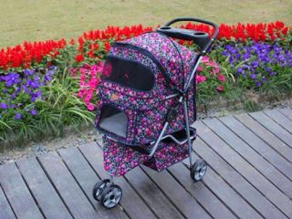 New BestPet 3 Wheels Fashion Flowers Pet Dog Cat Stroller w Raincover