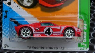 Hot Wheels Treasure Hunt 2012 Ford GT Custom Chrome Wheels Rubber