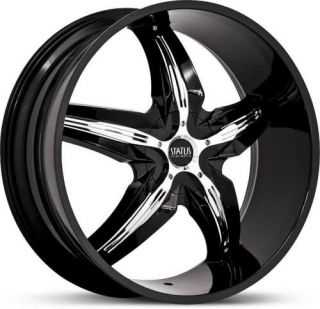 20 x8 5 Status Dystany S822 Black w Chrome Wheels Rims