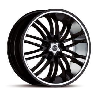 20 x10 Ruff Racing R941 Black w Chrome Wheels Rims