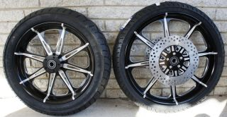 AFTERMATH BLACK WHEELS ROTORS TIRES 4 HARLEY 02 07 FLHT FLH TOURING