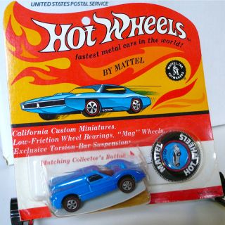 RARE Mattel Hot Wheels Redline Blue Enamel Ford J Car Blister Pack MOC