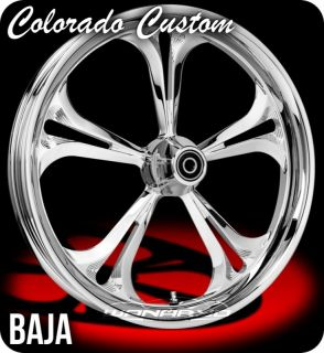 Custom Chrome Baja Front Rear Wheels Tires Harley FLH FLHR FLHX