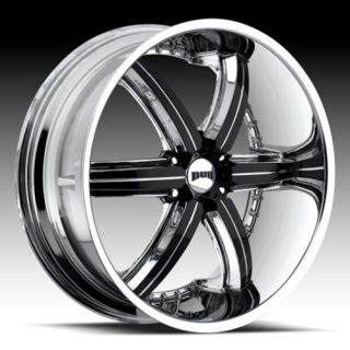 26 Dub Bomber 6 Chrome Black Wheel Set 6 Spoke