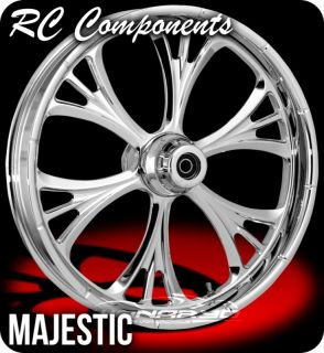 Chrome Majestic Front Rear Wheels Tires Harley FLH FLHR FLHX