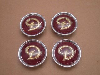 Jaguar Red Daimler Center Cap Wheel Badge Set of 4 MNA6249DB