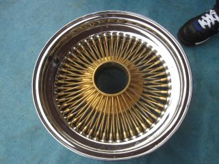 15 Dayton Wire Rim Wheel Chrome Gold