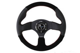 NRG Race Series 320mm Racing Steering Wheel Black Suede Leather w Red