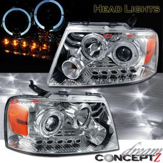 04 08 Ford F150 Dual Halo Rims Projector Headlights w LED Chrome