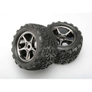 Traxxas 5374X Gemini Black Chrome Wheels Talon Tire 2 17 mm Hub 1 10