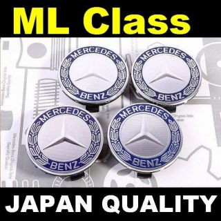 X4 Mercedes Blue Logo Alloy Wheel Center Caps M ml Class W163 W164