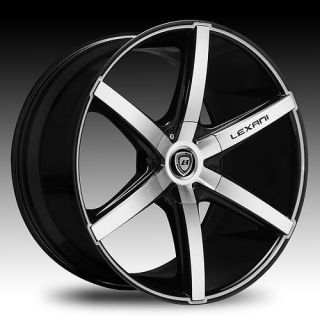 Lexani R 6 Black Machine Chevy Camaro 6 Spoke Wheels Rims