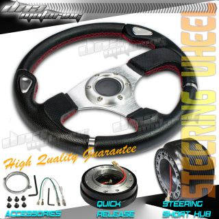 3pc Combo Quick Release Hub 320mm T200 Racing JDM Steering Wheel Civic