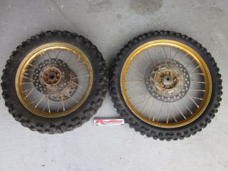 KX 85 Gold Excel Wheels Set Dunlop Tires Rims Wheel Spokes KX85