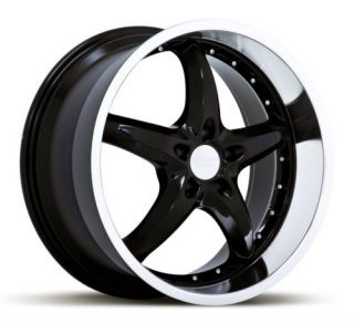 20 x10 Ruff Racing R280 Black Machined Wheels Rims