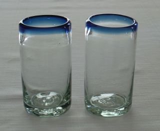 of Mexican Hand Blown Bubble Glass Tumblers Glasses w Cobalt Blue Rim