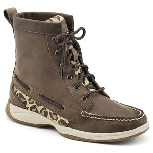 Sperry Top Sider Womens Langley Brown  Leopard Boots   9775958