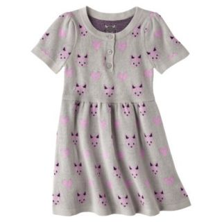 Infant Toddler Girls Short Sleeve Knit Fox Dress   Grey 4T