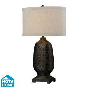 Dimond Lighting DMD HGTV225 Universal Bronze Oval Table Lamp with Hand Carved Ac