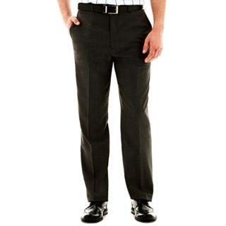 CLAIBORNE Slim Fit Twill Flat Front Pants, Gray, Mens