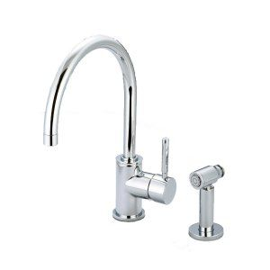 Water Creation F5 0003 01 SP Monroe Gooseneck Kitchen Faucet With Mounting Plate