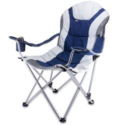 Picnic Time Navy Reclining 3 position Folding Camp Chair