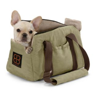 Velvet Bitty Bag Pet Carrier in Sage/Stone, 16 L X 9.75 W X 10.75 H