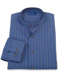 Paul Fredrick Mens 100% Cotton Stripe Band Collar Sport Shirt