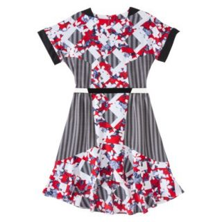 Peter Pilotto for Target Belted Dress  Red Floral/Check Print 16