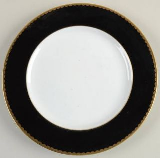 Mikasa Black Granite Black Border Salad Plate, Fine China Dinnerware   Black Bor