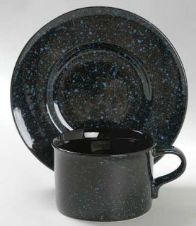 Mikasa Ultrastone Black Granite Flat Cup & Saucer Set, Fine China Dinnerware   B