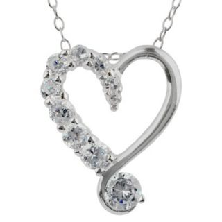 1/2 CT. T.W. Cubic Zirconia Heart Cable Chain in Sterling Silver   Multicolor