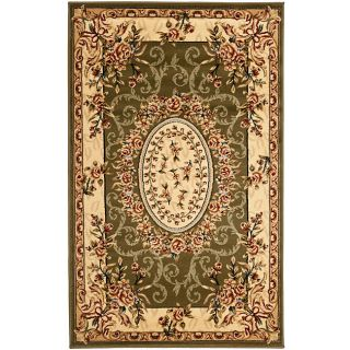 Lyndhurst Collection Aubussons Sage/ Ivory Rug (33 X 53) (GreenPattern FloralMeasures 0.375 inch thickTip We recommend the use of a non skid pad to keep the rug in place on smooth surfaces.All rug sizes are approximate. Due to the difference of monitor