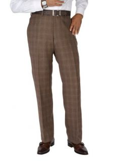 Paul Fredrick Mens 100% Wool Flannel Windowpane Flat Front Pants