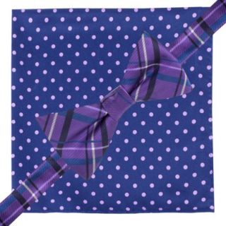 City of London Mens Bow Tie and Pocket Square Set   Blue and Purple