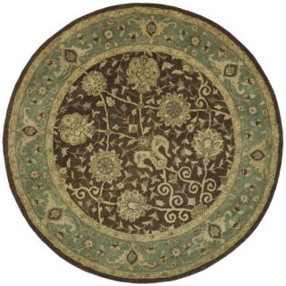 Safavieh Antiquities Brown/Green Rug AT21G Rug Size Round 6