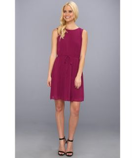 Jessica Simpson Sleeveless Blouson Pleated Dress w/ Back Bodice Detail Womens Dress (Purple)