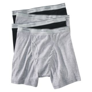Fruit of the Loom Mens Boxer Briefs 4 Pack   Black/Grey M
