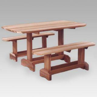 All Things Cedar Oval Cedar Picnic Table Set Multicolor   OT70U